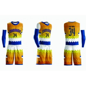 Basketball Yellow and Blue Design Uniform