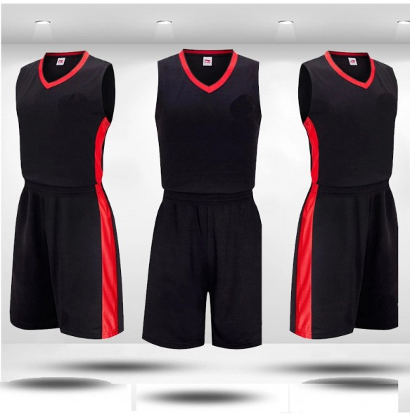 Basketball Black Jersey With Red Panel Design Uniform