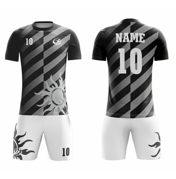 Red and white soccer uniform
